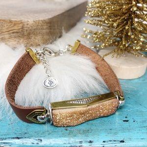 Silpada Sterling Silver Druzy Leather Bracelet